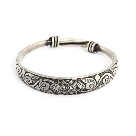 Etched Botanical Bali Style Bangle Bracelet | Eve's Addiction®