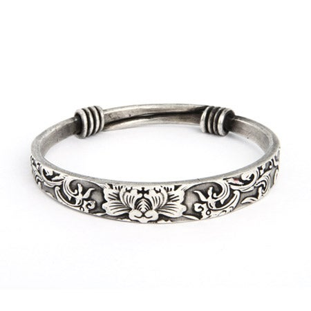Swirling Lotus Bali Bangle Bracelet | Eve's Addiction®