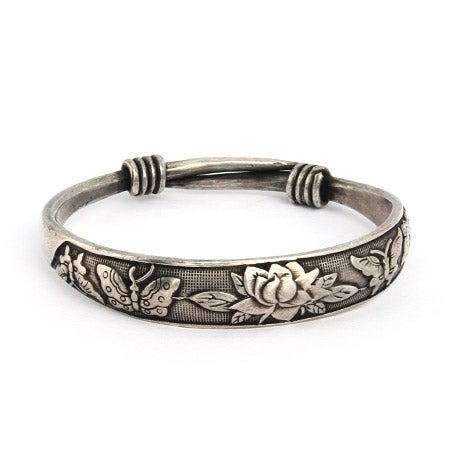 Butterfly and Lotus Bali Bangle Bracelet | Eve's Addiction®