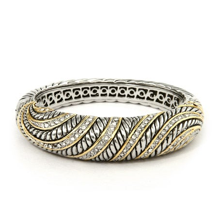 Designer Inspired Bold and Beautiful CZ Two Tone Bangle Bracelet | Eve's Addiction®