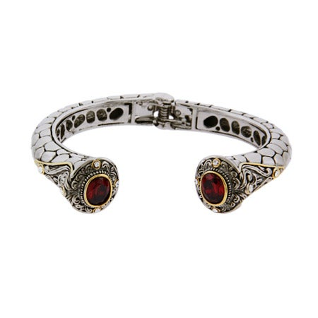 Designer Inspired Renaissance Style Garnet CZ Cuff Bracelet | Eve's Addiction®