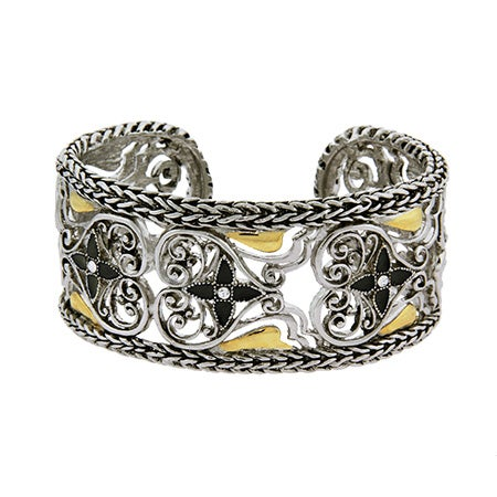 Braided Edge Vintage Heart Cuff Bracelet | Eve's Addiction®