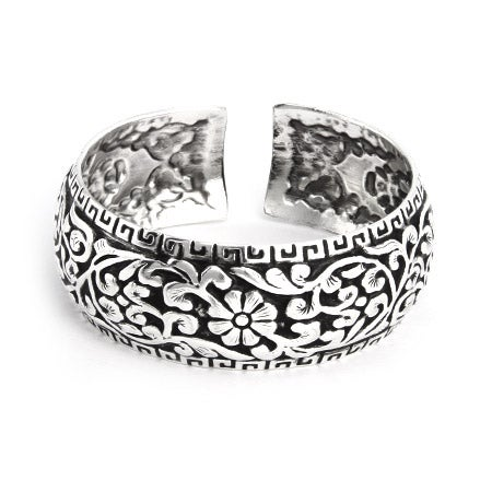Floral Greek Design Wide Bali Cuff Bracelet | Eve's Addiction®