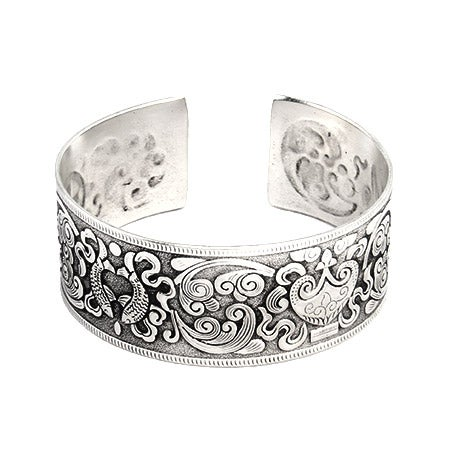 Koi Fish Design Wide Bali Cuff Bracelet | Eve's Addiction®