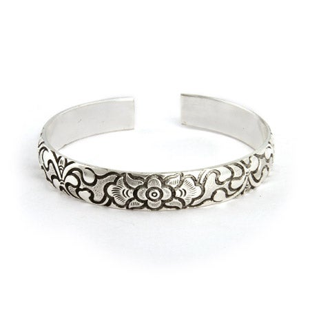 Raised Decorative Flower Design Bali Cuff Bracelet | Eve's Addiction®