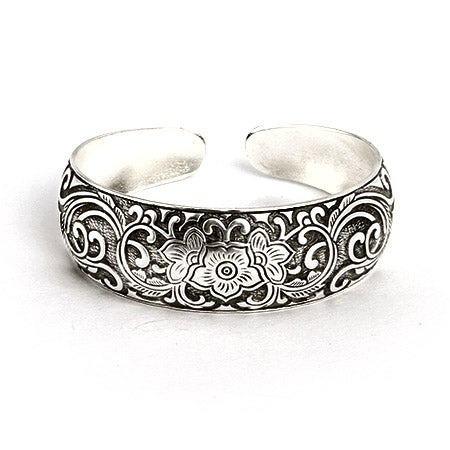 Bali Cuff Bracelet with Vintage Style Flowering Vines | Eve's Addiction