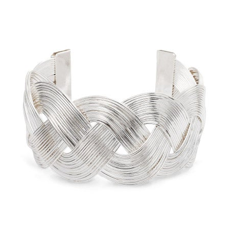 Wide Silver Tone Braided Design Cuff Bracelet | Eve's Addiction
