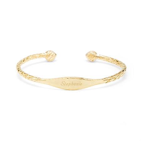 Gold Oval ID Cuff Bracelet | Eve's Addiction®