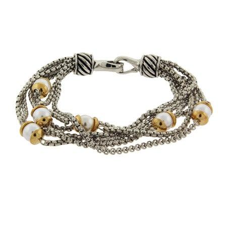 Designer Inspired Six Strand Pearl Bracelet