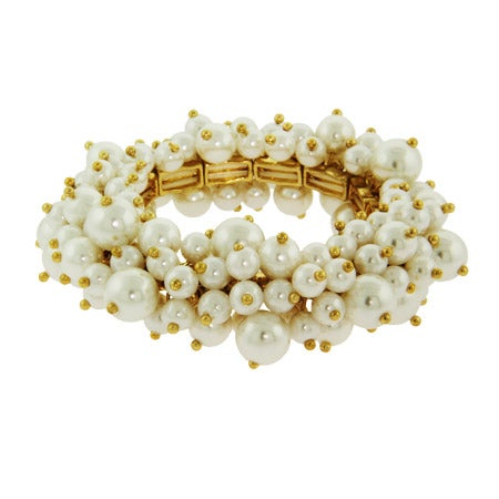 Gold Stretch Bangle Bracelet with Cluster of Pearls | Eve's Addiction®