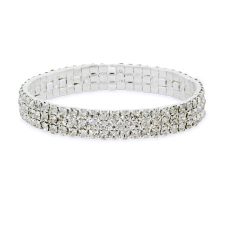 Sparkling Stretch Three Row CZ Bracelet | Eve's Addiction