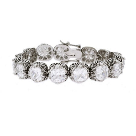 Crown Set CZ Bali Style Bracelet | Eve's Addiction®