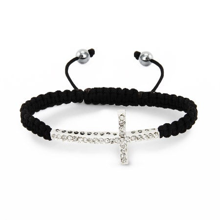 Macrame Sideways Cross CZ Shamballa Style Bracelet | Eve's Addiction®