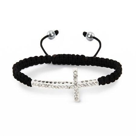 Macrame Sideways Cross CZ Shamballa Style Bracelet | Eve's Addiction®