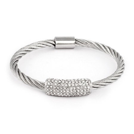 Pave CZ Bar Cable Bangle Bracelet | Eve's Addiction®
