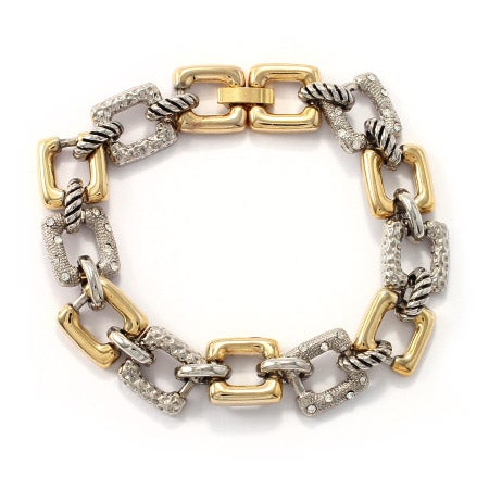 Designer Inspired Two Tone CZ Square Link Bracelet | Eve's Addiction®