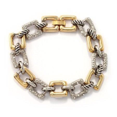 Designer Inspired Two Tone CZ Square Link Bracelet | Eve's Addiction®
