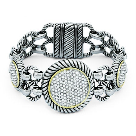 Chunky Round Pave CZ Cable Bali Bracelet | Eve's Addiction®