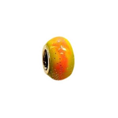 Yellow Orange Enamel Bead
