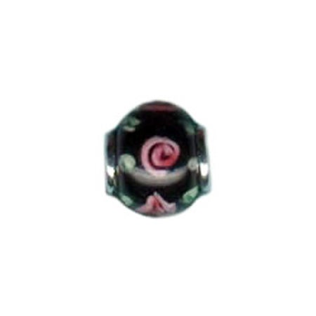 Black & Pink Rose Glass Bead