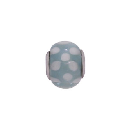 Blue & White Dotted Glass Bead