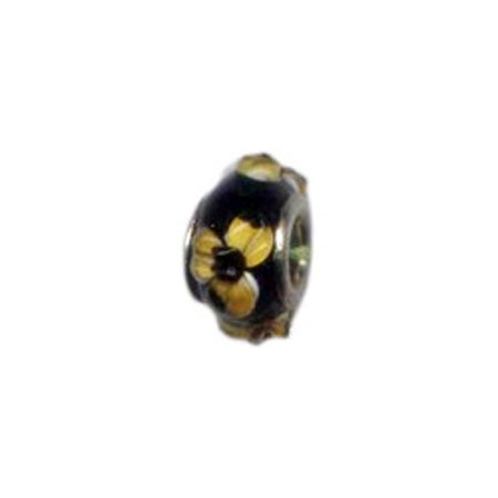 Yellow Flowers Glass Bead