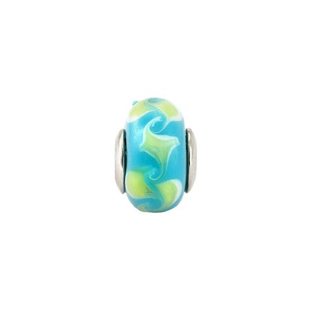 Blue Design Glass Bead