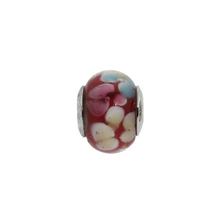 Red Oriental Flower Glass Bead