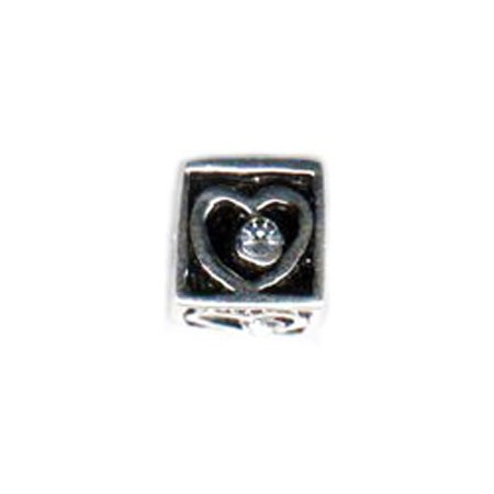 Diamond CZ Heart Square Bead