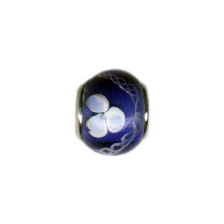 White & Blue Flower Glass Bead