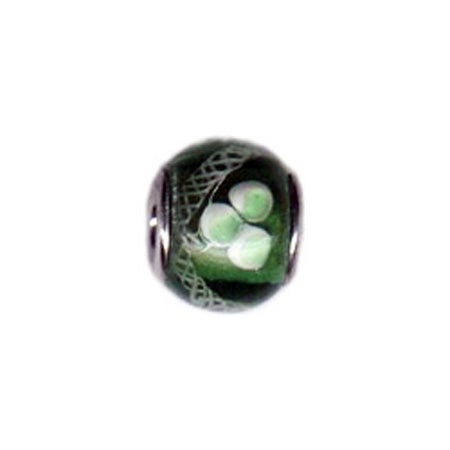 White & Green Flower Glass Bead