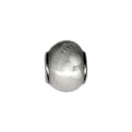 White Flower Glass Bead