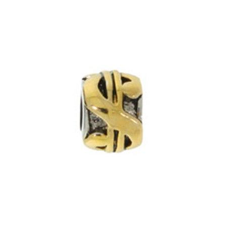 Gold Dollar Sign Bead