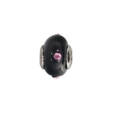 Pink CZ Black Glass Bead | Pink CZ Jewelry Bead