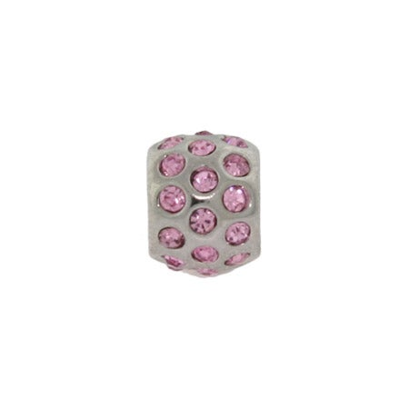 Ball of Pink CZ Bezel Bead