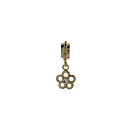Gold Flower CZ Dangle Bead | Pandora Compatible Bead