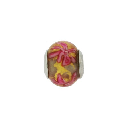 Yellow Gold And Pink Flowers Bead | Eve's Addiction Bead