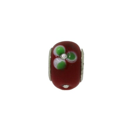Red Diamond CZ Flowers Glass Bead