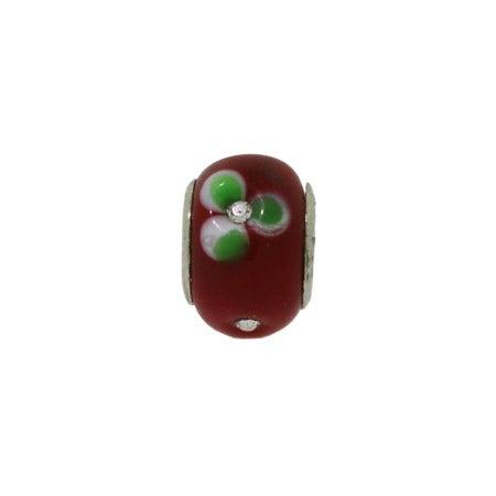 Red Diamond CZ Flowers Glass Bead