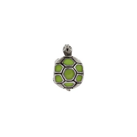 Green Enamel Turtle Bead