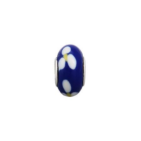 Royal Blue Flower Enamel Bead