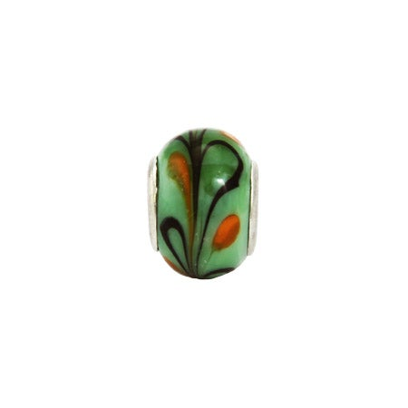 Orange Lime Swirl Glass Oriana Bead