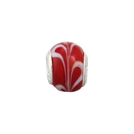 Cherry Red Swirl Glass Oriana Bead