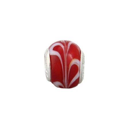 Cherry Red Swirl Glass Oriana Bead