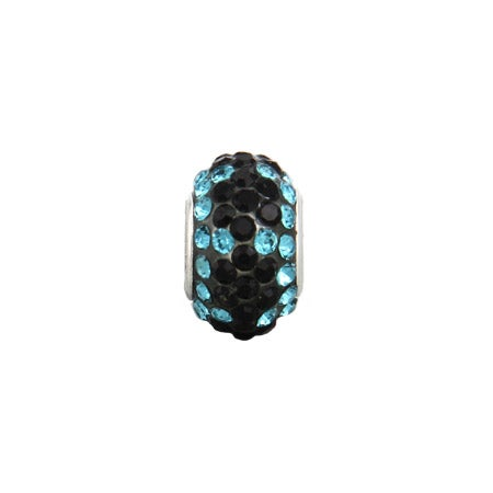 Blue Zircon with Black Flowers Oriana Bead
