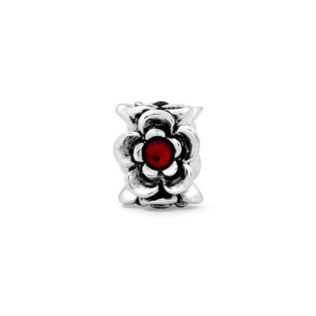 Flower Red CZ Bead
