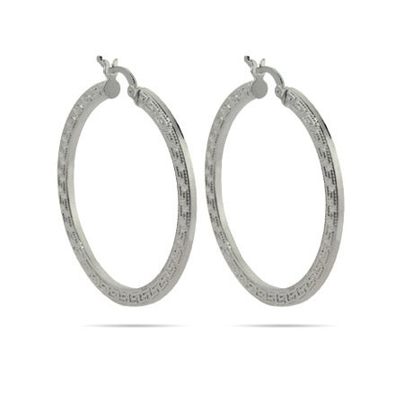 "Greek Design 1.5"" Hoop Earrings 