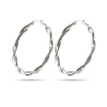 "2 "" Large Twist Style Hoop Earrings 