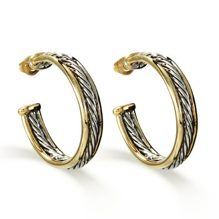 Designer Inspired Two Tone Cable Hoop Earrings | Eve's Addiction®