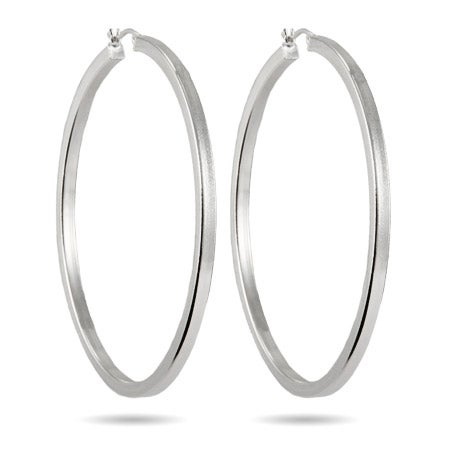 "2.5"" Box Cut Hoop Earrings 
